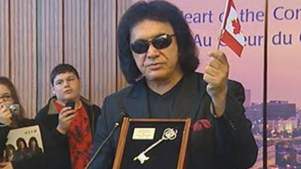Gene Simmons is shown here in Winnipeg after receiving the key to the city in 2011.