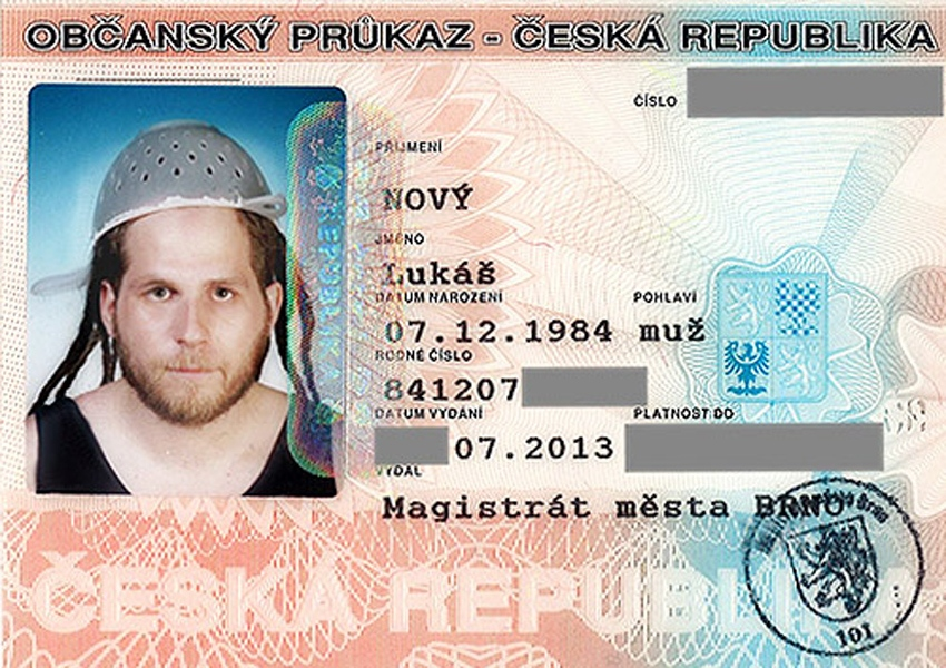 A Pastafarian in the Czech Republic dons a spaghetti strainer in his driver's licence photo. It's one of four counties that recognizes a strainer as an accepted religious headware. (PJMedia.com)