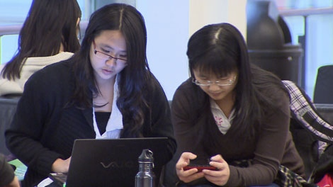 Students study at the University of B.C. Jan. 20, 2012. (CTV)