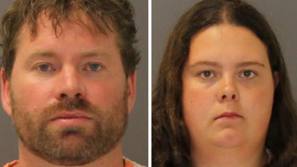 These images provided by the St. Lawrence County Sheriff's Office shows the booking photo of Stephan Howells II, 39, left, and Nicole Vaisey, 25, who was arraigned late Friday Aug. 15, 2014 on charges they intended to physically harm or sexually abuse two Amish sisters after abducting them from a roadside farm stand. (AP / St. Lawrence County Sheriff)