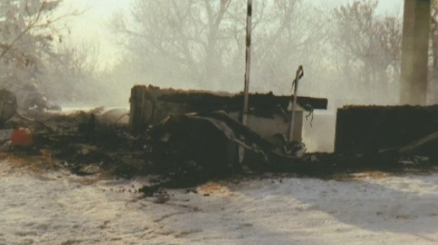 The remains of the Klaus farmhouse near Castor, AB following a December 2013 fire