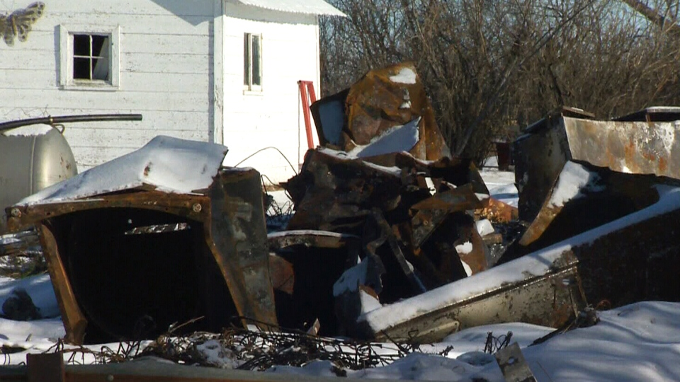 The scene of the Klaus farmhouse near Castor, AB following a December 2013 fire.
