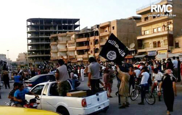 Islamic State fighters during parade in Raqqa