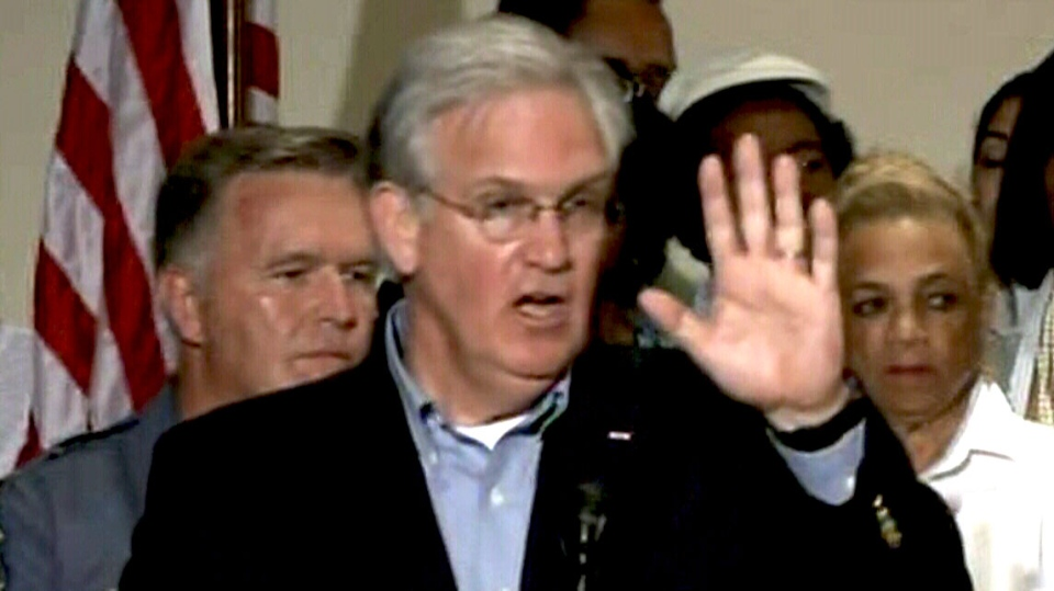 Missouri Governor Jay Nixon calls for calm at a press conference declaring a state of emergency and curfew in the St. Louis suburb of Ferguson. Saturday, August 16, 2014.