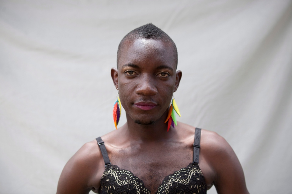 A transgender Ugandan takes part in the 3rd Annual Lesbian, Gay, Bisexual and Transgender (LGBT) Pride celebrations in Entebbe, Uganda, Saturday, Aug. 9, 2014. (AP / Rebecca Vassie)