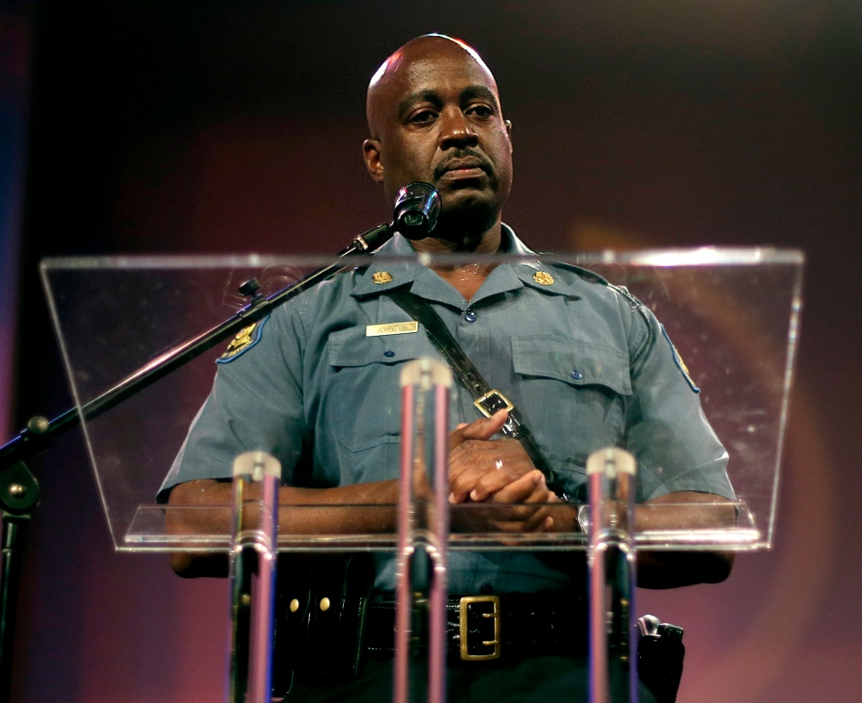 Missouri State Highway Patrol Capt. Ron Johnson speaks during a rally at Greater Grace Church, Sunday, Aug. 17, 2014, for Michael Brown Jr., who was killed by police last Saturday in Ferguson, Mo. (AP / Charlie Riedel)