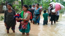 Monsoon flooding in Nepal, India