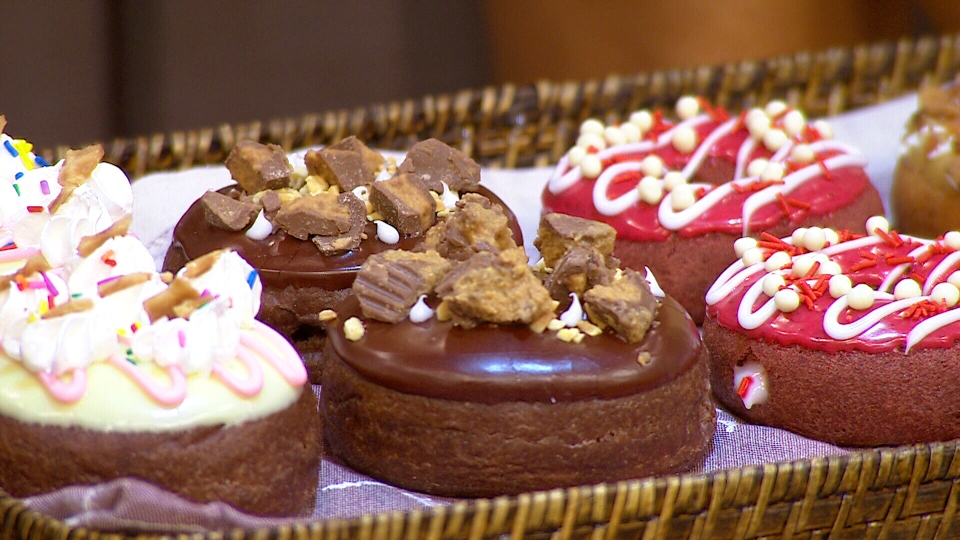 Donuts are shown as part of the Tim Hortons Duelling Donuts competition on Canada AM, Monday, Aug. 18, 2014.