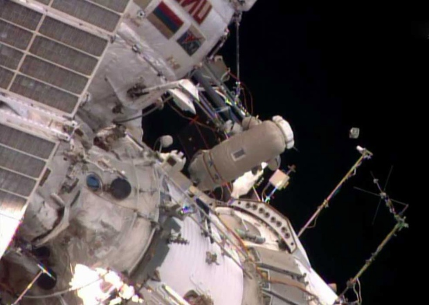 Astronauts take spacewalk to launch nanosatellite