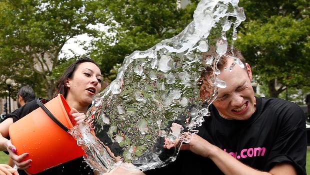 Ice bucket challenge in Boston