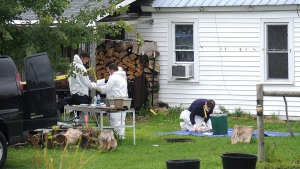 New York State Police crime scene investigators look through documents at the home of suspected kidnappers Stephen Howells II and Nicole F. Vaisey, in Hermon, NY., Sunday, Aug. 14, 2014. (AP / Melanie Kimbler-Lago, Watertown Daily Times)