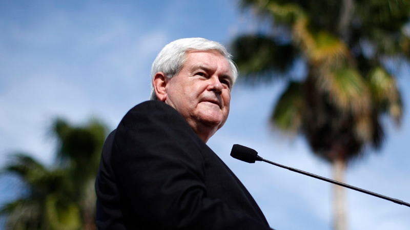 U.S. Republican presidential candidate, former House Speaker Newt Gingrich speaks at The River Church, Monday, Jan. 23, 2012, in Tampa, Fla. (AP / Matt Rourke)