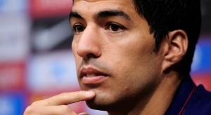 FC Barcelona's Luis Suarez, from Uruguay, attends a press conference on Tuesday, Aug. 19, 2014. (AP / Manu Fernandez)