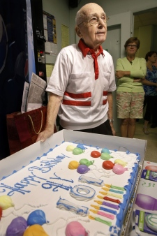 101-year-old man celebrates birthday at work