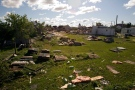 The path of the tornado scars the landscape in Goderich, Ontario on Monday August 22, 2011. (Frank Gunn / The Canadian Press)