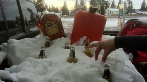 Corbin Joseph has since taken off Facebook comments bragging about his insurance fraud after he was fined but still has this photo of his truck loaded with alcohol. Jan. 24, 2012. (Facebook)