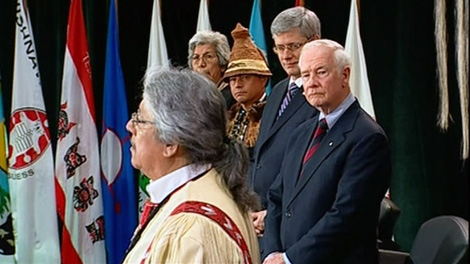 Prime Minister Stephen Harper and Gov.-Gen. David Johnston attend a meeting with Aboriginal leaders in Ottawa, Tuesday, Jan. 24, 2012.