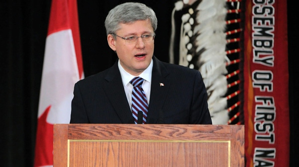 Prime Minister Stephen Harper delivers a speech at the Crown First Nations Gathering in Ottawa on Tuesday, Jan. 24, 2012. (Sean Kilpatrick / THE CANADIAN PRESS)