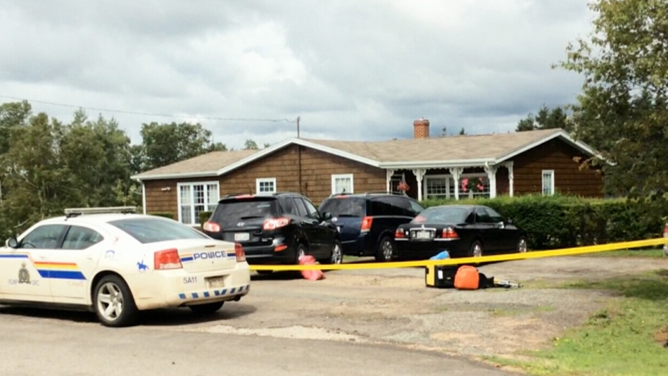 Police are on the scene of a double homicide at a home in rural P.E.I., Wednesday, Aug. 20, 2014.