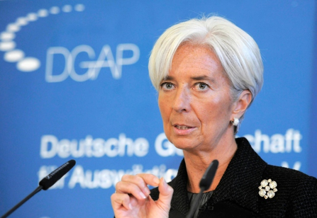 Managing Director of the International Monetary Fund (IMF) Christine Lagarde gestures during her speech about the economic Challenges in 2012 at the German Council on Foreign Relations in Berlin, Monday, Jan. 23, 2012. (AP / Jens Meyer)
