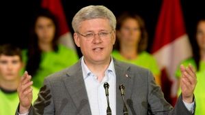 Prime Minister Stephen Harper at the Yukon college in Whitehorse, on August 21, 2014. (THE CANADIAN PRESS / Adrian Wyld)