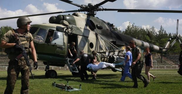 Ukrainian soldier evacuated