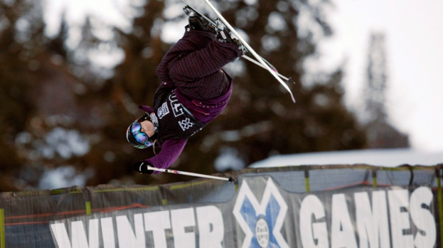 Sarah Burke of Canada, competes during the women's skiing superpipe final round at the Winter X Games at Buttermilk Mountain outside Aspen, Colo., Jan. 29, 2010 (AP / David Zalubowski)