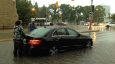 Flooded car on Osborne