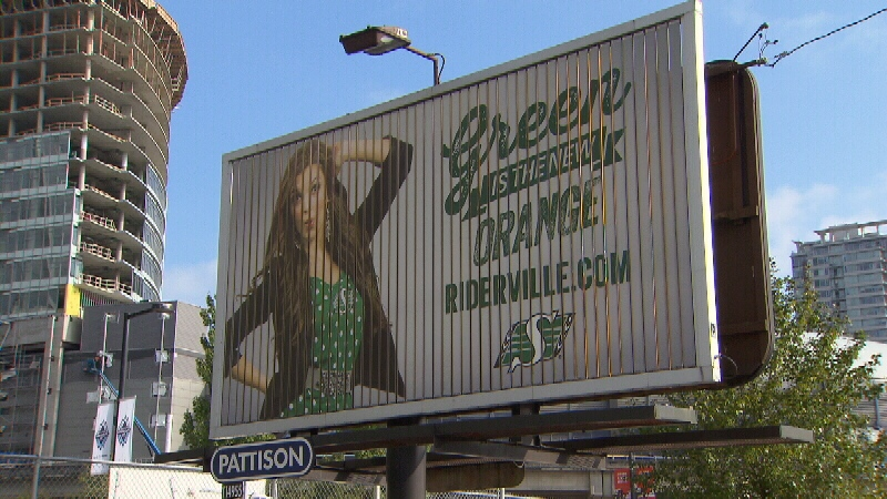 The Saskatchewan Roughriders purchased a billboard outside BC Place in advance of Sunday's game. Aug. 21, 2014. (CTV)
