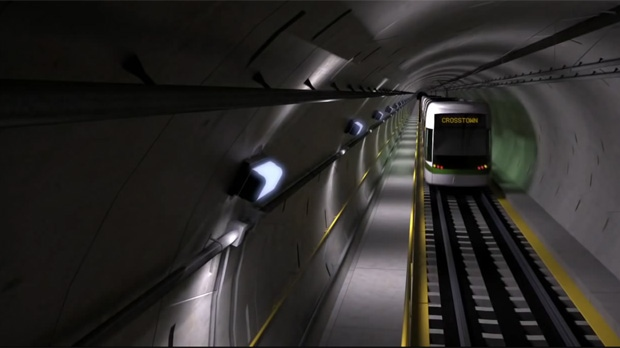 An artist's rendering of the planned Eglinton Crosstown LRT is pictured in this screen grab. (Handout/Metrolinx)