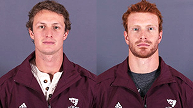 24-year-old Guillaume Donovan, left, and 25-year-old David Foucher of the uOttawa Gee-Gees ice hockey team. (Geegees.ca)
