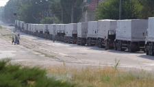Convoy parked in Luhansk