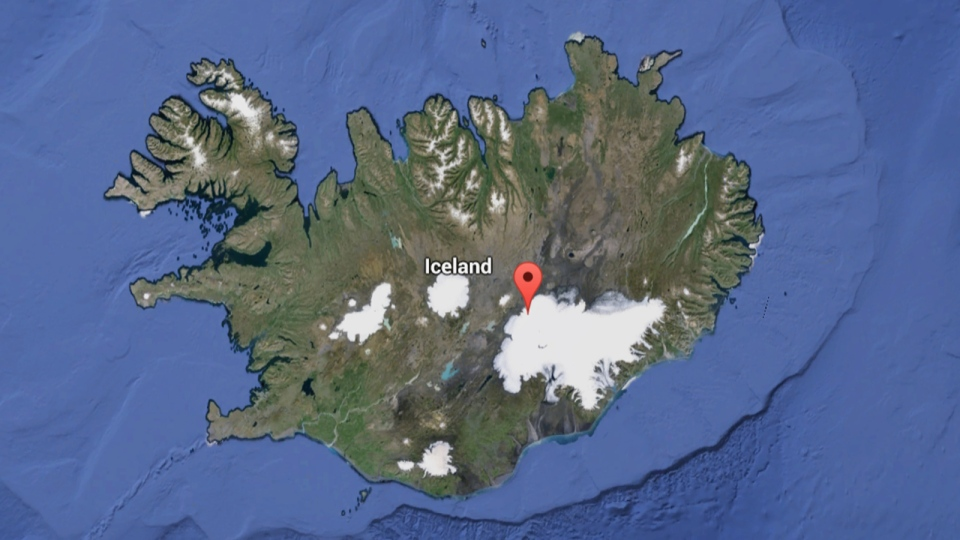 In this Google map, the Bardarbunga volcano is noted by the red point.