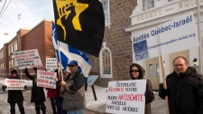 Members of the Jewish Defence League protest against anti-Israel Mayor Stephane Gendron at City Hall Thursday, January 26, 2012 in Huntingdon, Quebec.THE CANADIAN PRESS/Ryan Remiorz