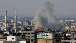 Smoke rises after an Israeli strike hits Gaza City on Saturday, Aug. 23, 2014. (AP / Adel Hana)