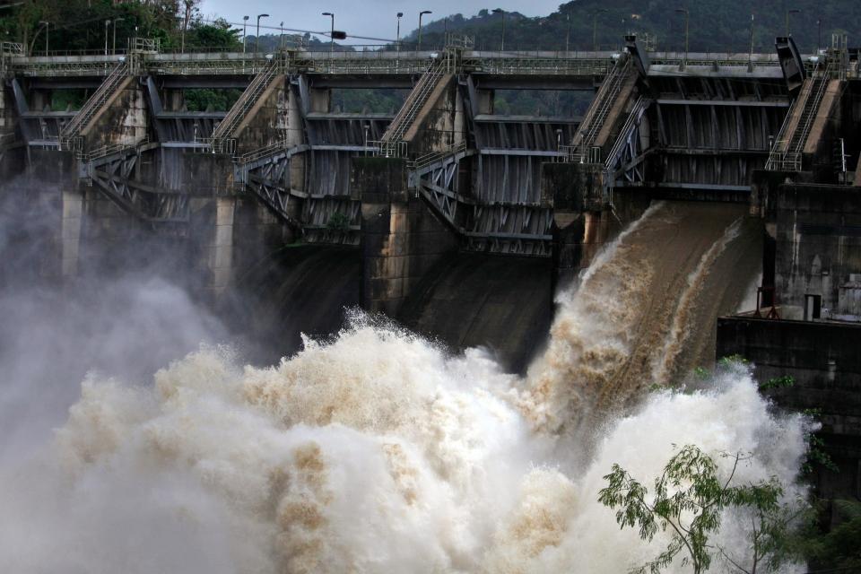 Water rushes through Carraizo Dam in Puerto Rico