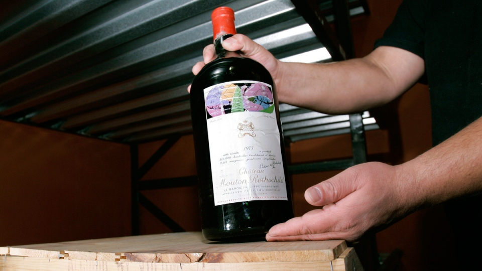 A double magnum bottle of vintage 1975 Chateau Mouton Rothschild Bordeaux French wine being stored in Jersey City, N.J., on Dec. 18, 2006. (AP / Mike Derer)