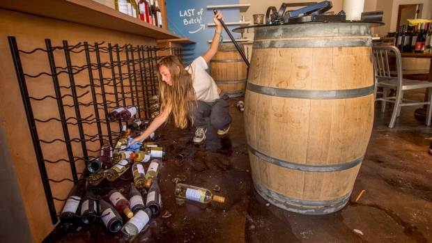 Cleaning up wine bottles in Napa, Calif.