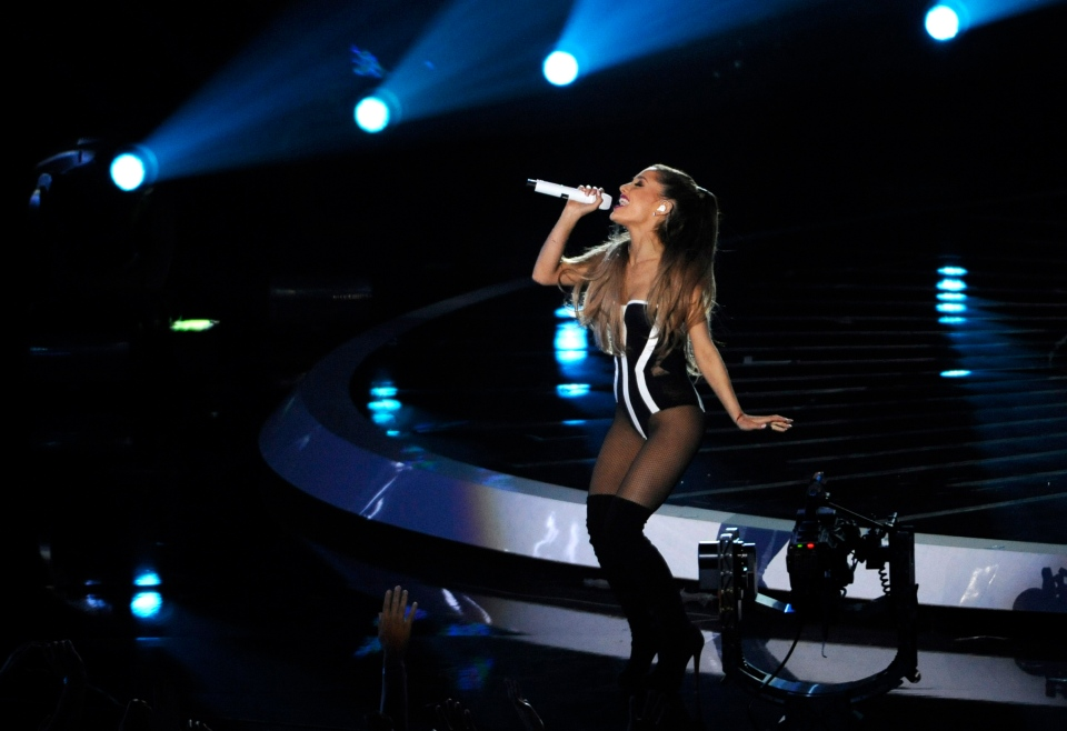 Ariana Grande performs at the MTV Video Music Awards at The Forum on Sunday, Aug. 24, 2014, in Inglewood, Calif. (Invision / Chris Pizzello)