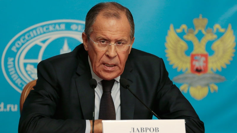 Russia's Foreign Minister Sergey Lavrov speaks in Moscow, Russia, Monday, Aug. 25, 2014. (AP / Ivan Sekretarev)