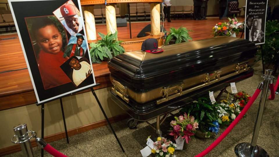 The casket of Michael Brown is seen at Friendly Temple Missionary Baptist Church in St. Louis, Monday, Aug. 25, 2014. (New York Times /  Richard Perry)