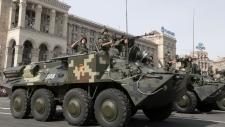 Ukrainian military vehicles in Kyiv