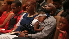 Michael Brown's father at his funeral