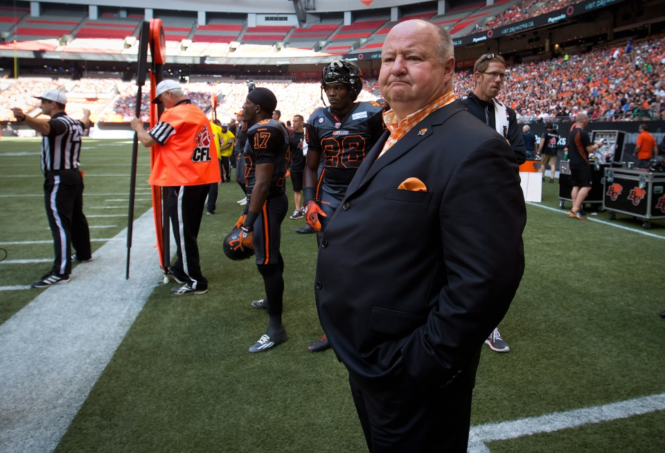 B.C. Lions' president and CEO Dennis Skulsky watches from the sideline as the team plays the Saskatchewan Roughriders in Vancouver, B.C., on Sunday August 24, 2014. (Darryl Dyck / THE CANADIAN PRESS)