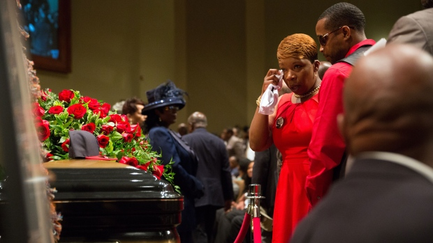 Hundreds of people gathered Monday to say goodbye to Michael Brown, who was shot and killed by a Ferguson, Mo., police officer on Aug. 9. The more than two weeks since Michael Brown&#39;s death have been marked by nightly protests, some violent and chaotic, although tensions have eased in recent days.