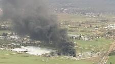The blaze at a BC Hydro substation began at around 10 a.m. on Lickman Road between South Sumas and Kieth Wilson roads. Jan. 27, 2012. (CTV)