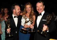 Aaron Paul, from left, Anna Gunn, Bryan Cranston