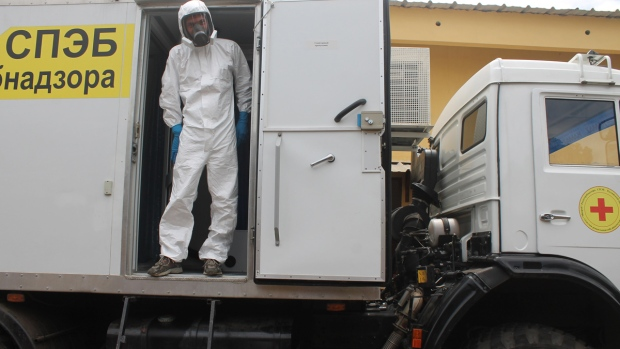 A Russian doctor in a mobile Ebola medical lab
