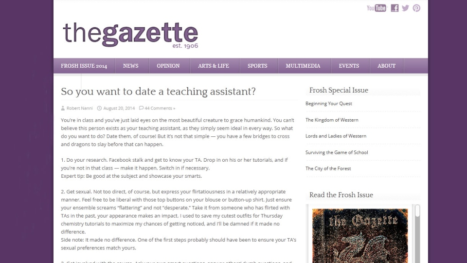 The Gazette article 'So you want to date a teaching assistant' has been criticized by the University of Western Ontario's  administration and TAs for being sexist and disrespectful.