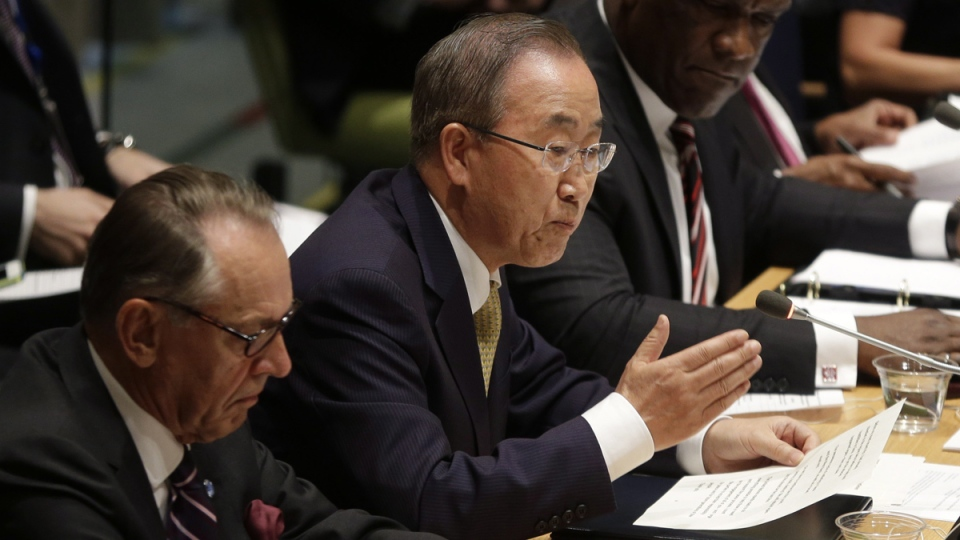 United Nations Secretary-General Ban Ki-moon, centre, speaks during an informal meeting of the General Assembly on the conflict in Gaza at UN headquarters, Wednesday, Aug. 6, 2014. (AP / Seth Wenig)